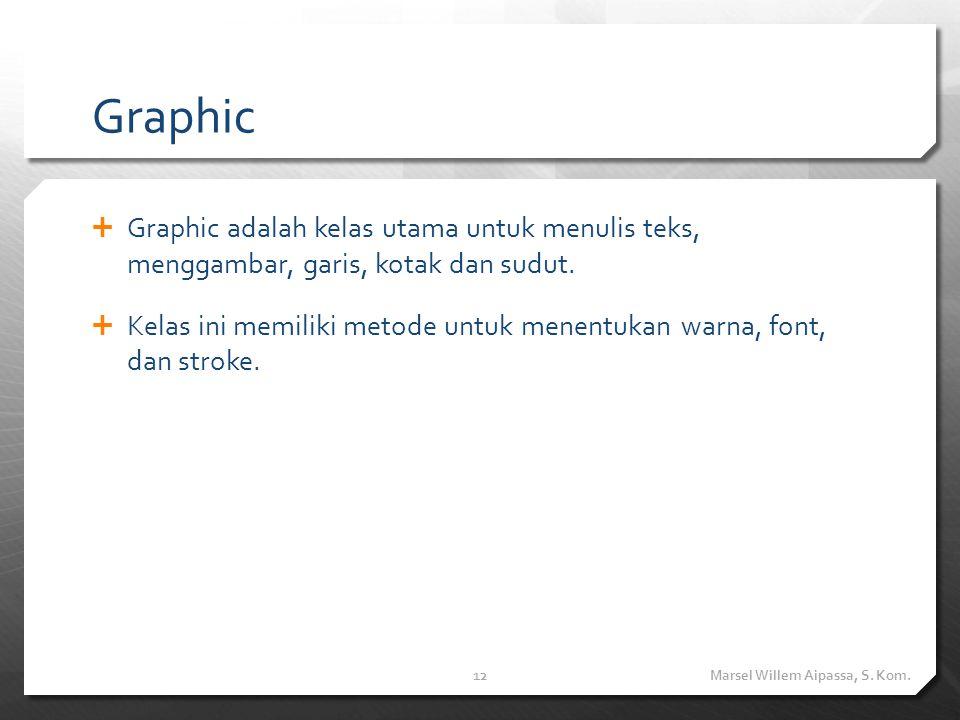 Graphic  Graphic adalah kelas utama untuk menulis teks, menggambar, garis, kotak dan sudut.  Kelas ini memiliki metode untuk menentukan warna, font,