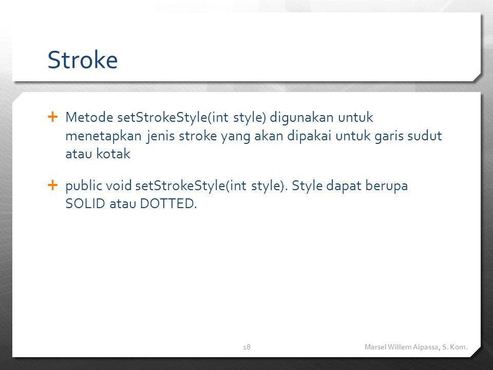 Stroke  Metode setStrokeStyle(int style) digunakan untuk menetapkan jenis stroke yang akan dipakai untuk garis sudut atau kotak  public void setStrokeStyle(int style).