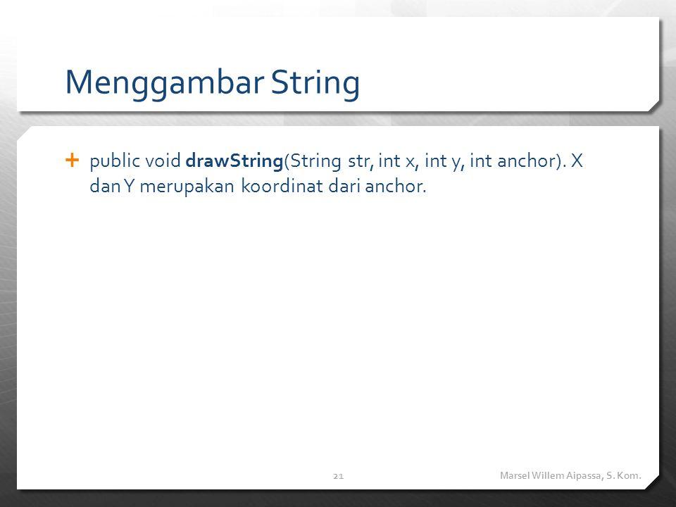 Menggambar String  public void drawString(String str, int x, int y, int anchor). X dan Y merupakan koordinat dari anchor. Marsel Willem Aipassa, S. K