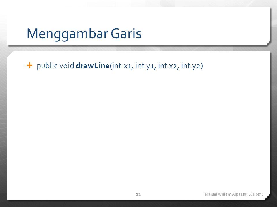Menggambar Garis  public void drawLine(int x1, int y1, int x2, int y2) Marsel Willem Aipassa, S.