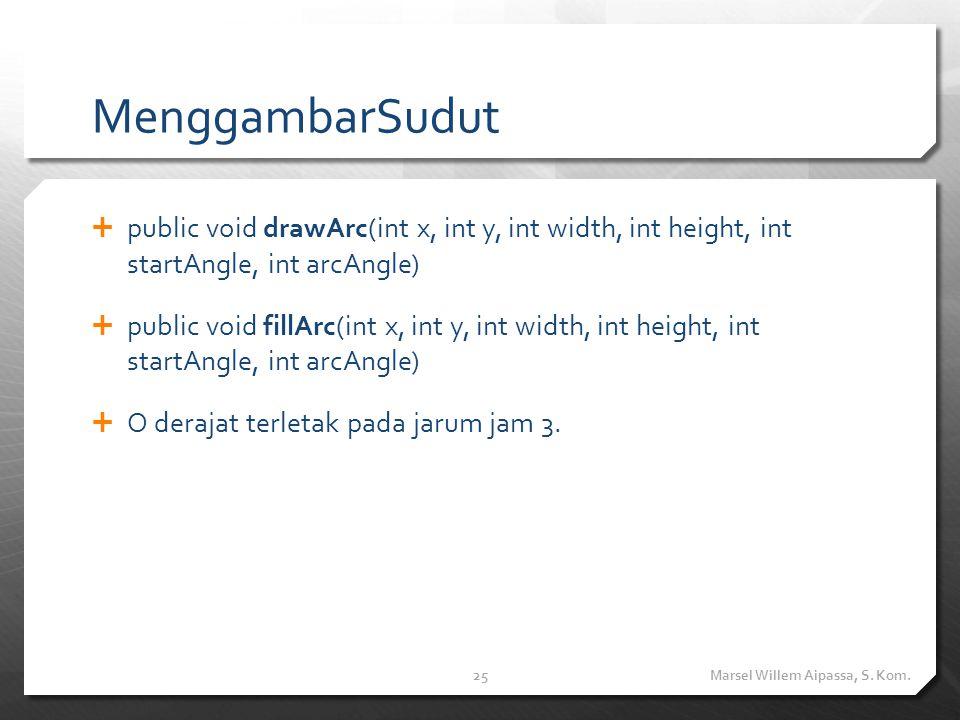 MenggambarSudut  public void drawArc(int x, int y, int width, int height, int startAngle, int arcAngle)  public void fillArc(int x, int y, int width, int height, int startAngle, int arcAngle)  O derajat terletak pada jarum jam 3.