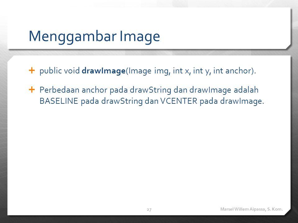 Menggambar Image  public void drawImage(Image img, int x, int y, int anchor).  Perbedaan anchor pada drawString dan drawImage adalah BASELINE pada d