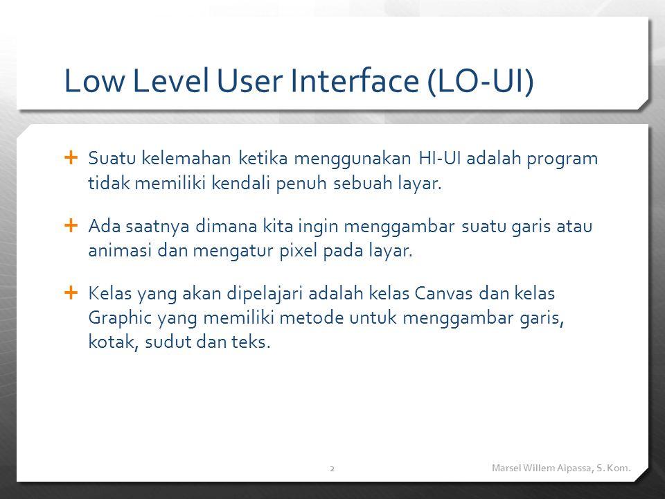 Low Level User Interface (LO-UI)  Suatu kelemahan ketika menggunakan HI-UI adalah program tidak memiliki kendali penuh sebuah layar.  Ada saatnya di