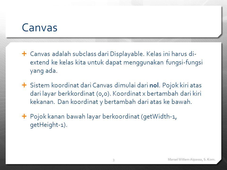 Canvas  Canvas adalah subclass dari Displayable. Kelas ini harus di- extend ke kelas kita untuk dapat menggunakan fungsi-fungsi yang ada.  Sistem ko