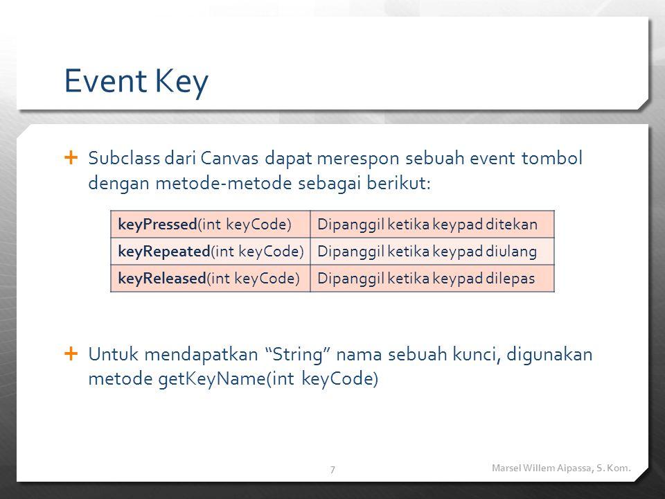 Event Key  Subclass dari Canvas dapat merespon sebuah event tombol dengan metode-metode sebagai berikut:  Untuk mendapatkan String nama sebuah kunci, digunakan metode getKeyName(int keyCode) Marsel Willem Aipassa, S.