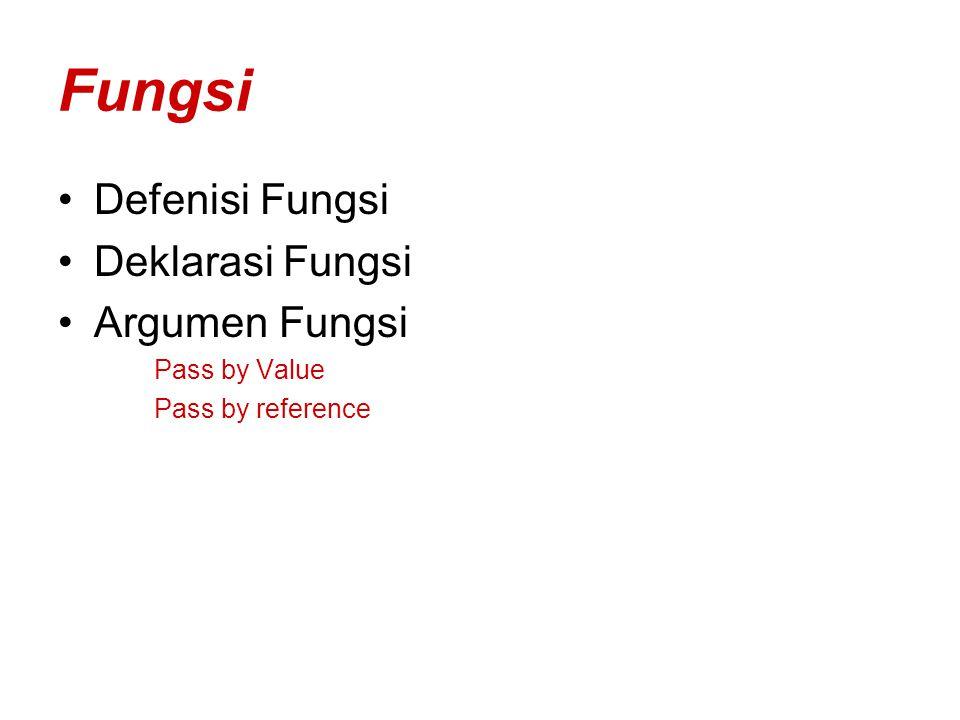 Defenisi Fungsi Fungsi adalah subprogram yang sering disebut juga subrutin program yang terdiri dari perintah-perintah.Menggunakan Fungsi mempermudah dan mempersingkat waktu pemrogram dalam menulis perintah yang terjadi berulang-ulang.Fungsi disebut juga User Defined Function(UDF)