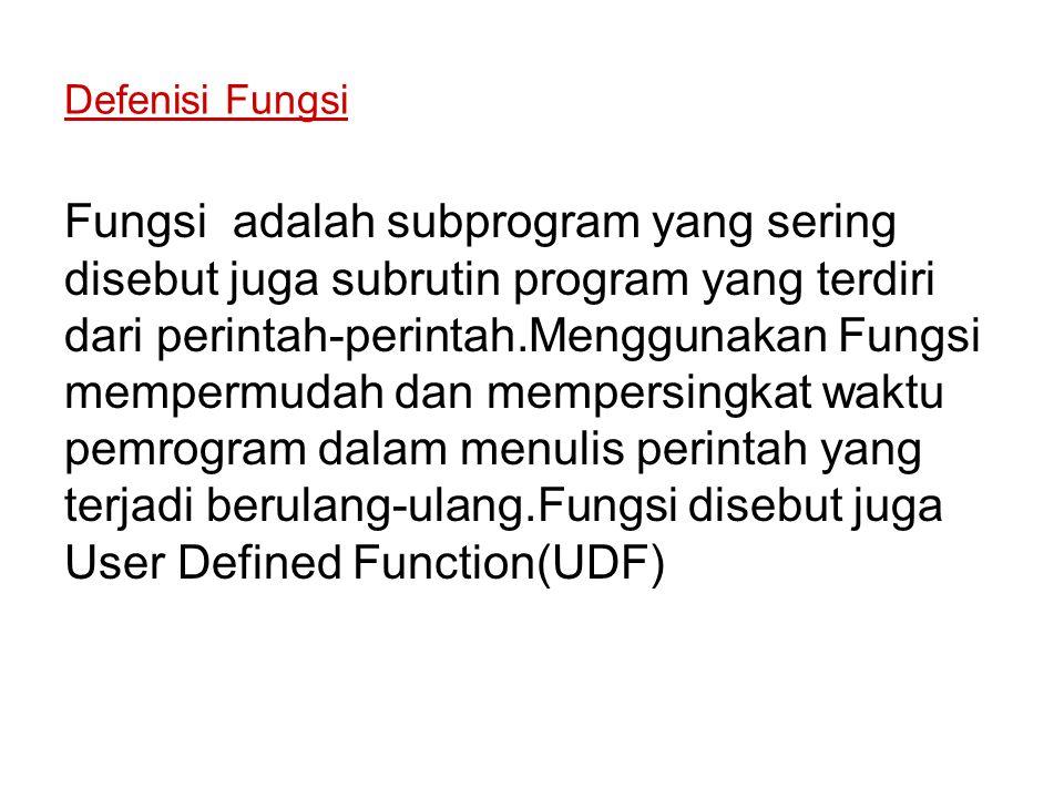 Defenisi Fungsi Fungsi adalah subprogram yang sering disebut juga subrutin program yang terdiri dari perintah-perintah.Menggunakan Fungsi mempermudah