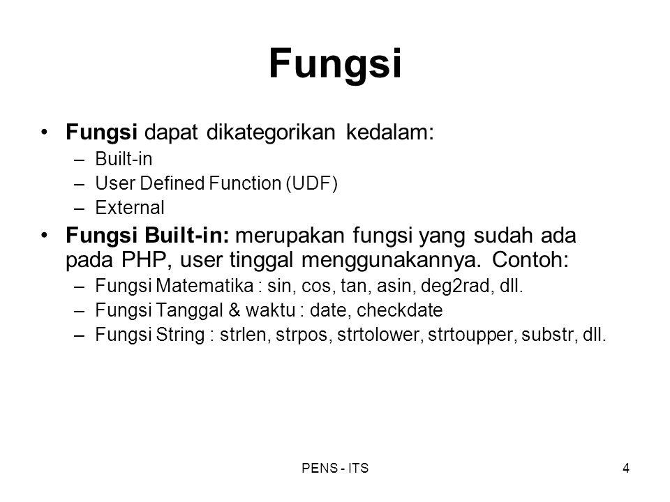 PENS - ITS4 Fungsi Fungsi dapat dikategorikan kedalam: –Built-in –User Defined Function (UDF) –External Fungsi Built-in: merupakan fungsi yang sudah a