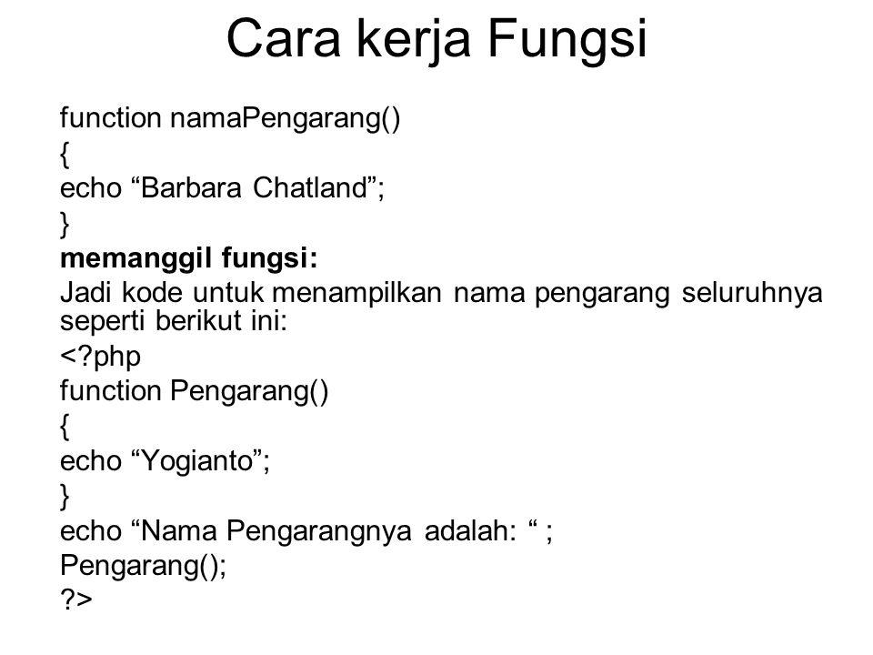 "Cara kerja Fungsi function namaPengarang() { echo ""Barbara Chatland""; } memanggil fungsi: Jadi kode untuk menampilkan nama pengarang seluruhnya sepert"