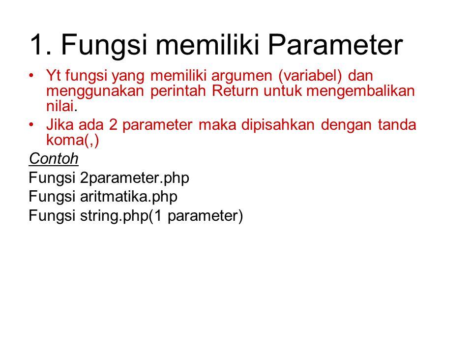 1. Fungsi memiliki Parameter Yt fungsi yang memiliki argumen (variabel) dan menggunakan perintah Return untuk mengembalikan nilai. Jika ada 2 paramete