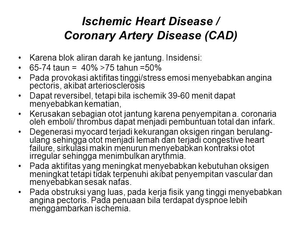 Ischemic Heart Disease / Coronary Artery Disease (CAD) Karena blok aliran darah ke jantung.