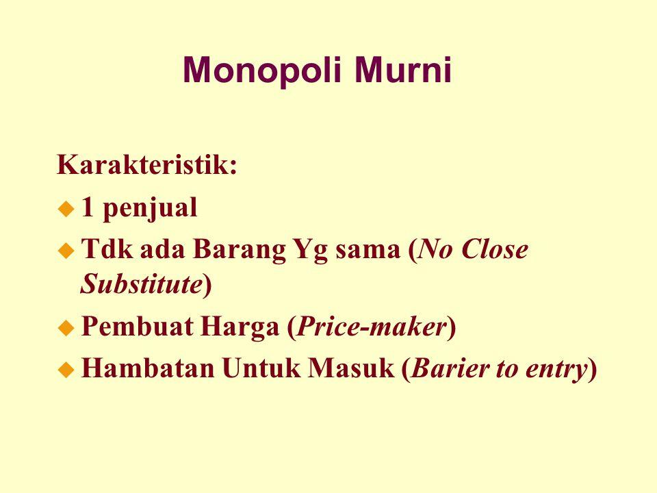 Monopoli Murni Karakteristik: u 1 penjual u Tdk ada Barang Yg sama (No Close Substitute) u Pembuat Harga (Price-maker) u Hambatan Untuk Masuk (Barier