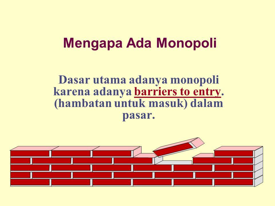 Mengapa Ada Monopoli Dasar utama adanya monopoli karena adanya barriers to entry. (hambatan untuk masuk) dalam pasar.