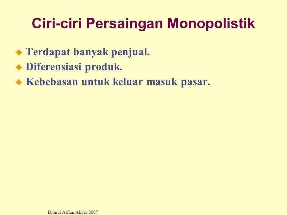 Dinnul Alfian Akbar 2007 Ciri-ciri Persaingan Monopolistik u Terdapat banyak penjual. u Diferensiasi produk. u Kebebasan untuk keluar masuk pasar.