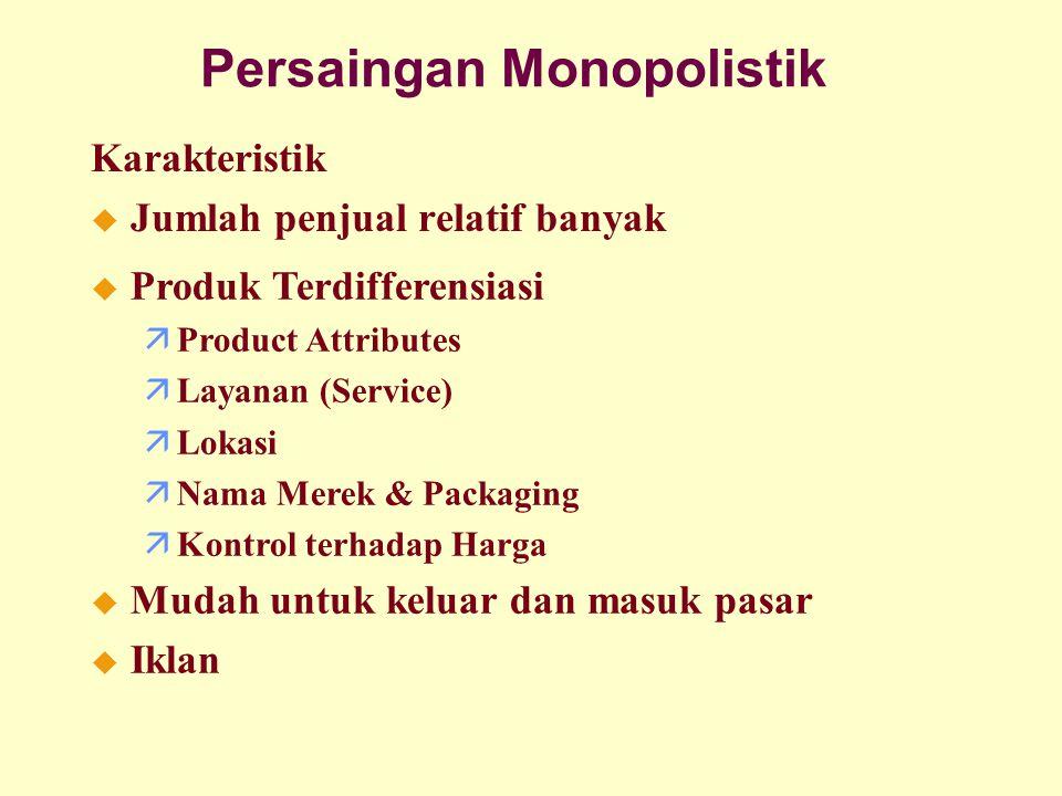 Persaingan Monopolistik Karakteristik u Jumlah penjual relatif banyak u Produk Terdifferensiasi äProduct Attributes äLayanan (Service) äLokasi äNama M