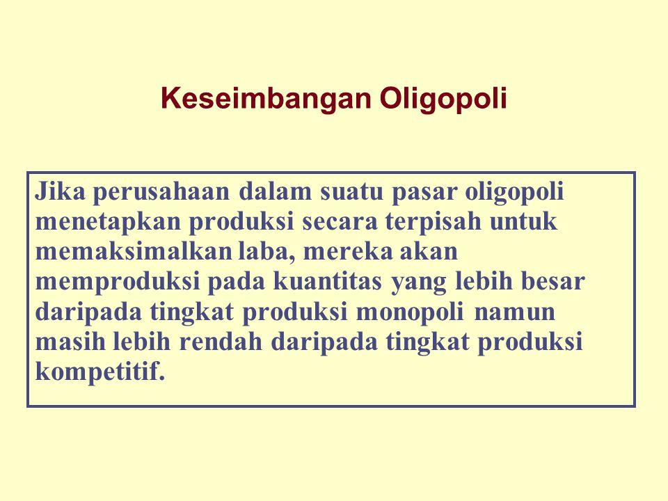 Keseimbangan Oligopoli Jika perusahaan dalam suatu pasar oligopoli menetapkan produksi secara terpisah untuk memaksimalkan laba, mereka akan memproduk