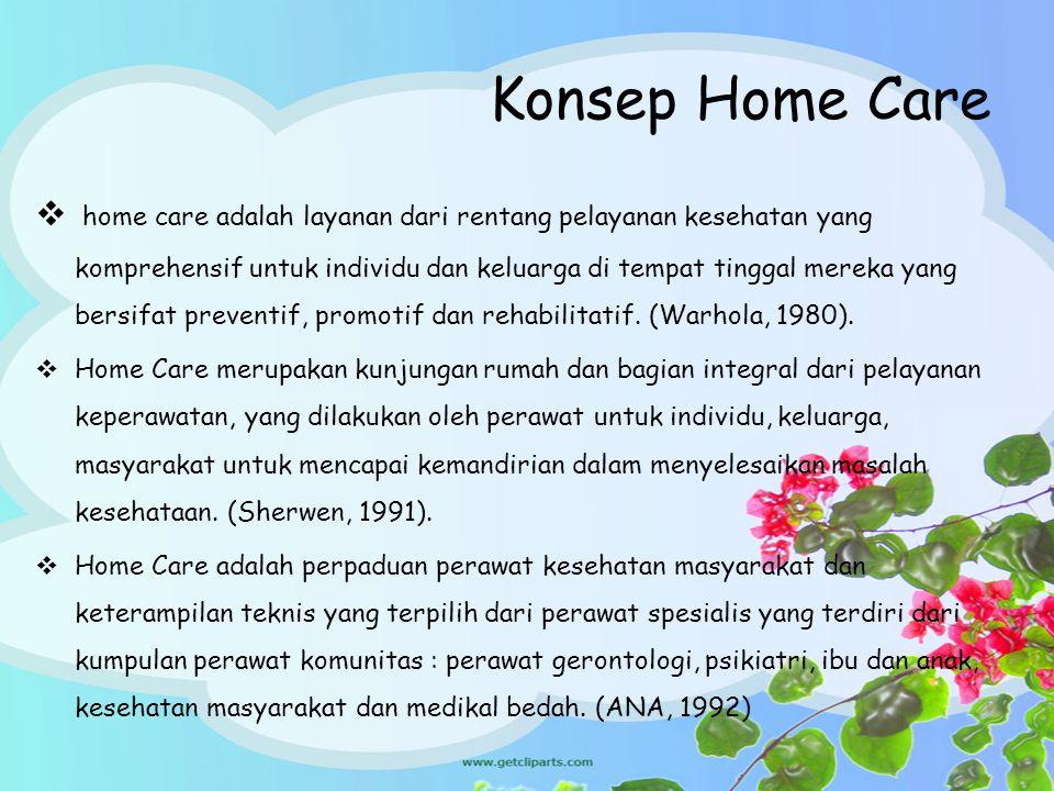 Konsep Home Care  home care adalah layanan dari rentang pelayanan kesehatan yang komprehensif untuk individu dan keluarga di tempat tinggal mereka ya