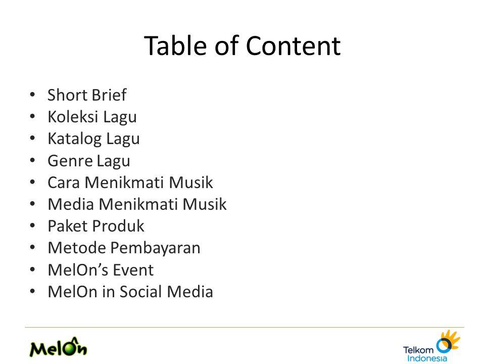Table of Content Short Brief Koleksi Lagu Katalog Lagu Genre Lagu Cara Menikmati Musik Media Menikmati Musik Paket Produk Metode Pembayaran MelOn's Event MelOn in Social Media