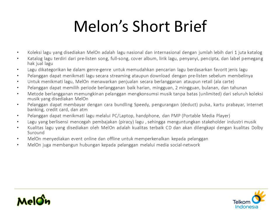 Melon's Short Brief Koleksi lagu yang disediakan MelOn adalah lagu nasional dan internasional dengan jumlah lebih dari 1 juta katalog Katalog lagu ter