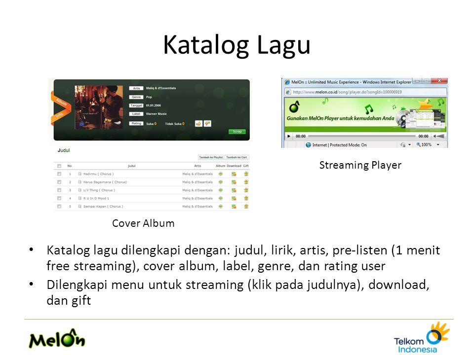 Katalog Lagu Katalog lagu dilengkapi dengan: judul, lirik, artis, pre-listen (1 menit free streaming), cover album, label, genre, dan rating user Dile