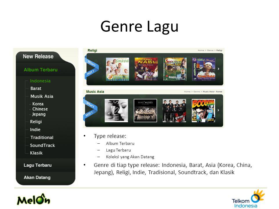 Genre Lagu Type release: – Album Terbaru – Lagu Terbaru – Koleksi yang Akan Datang Genre di tiap type release: Indonesia, Barat, Asia (Korea, China, Jepang), Religi, Indie, Tradisional, Soundtrack, dan Klasik