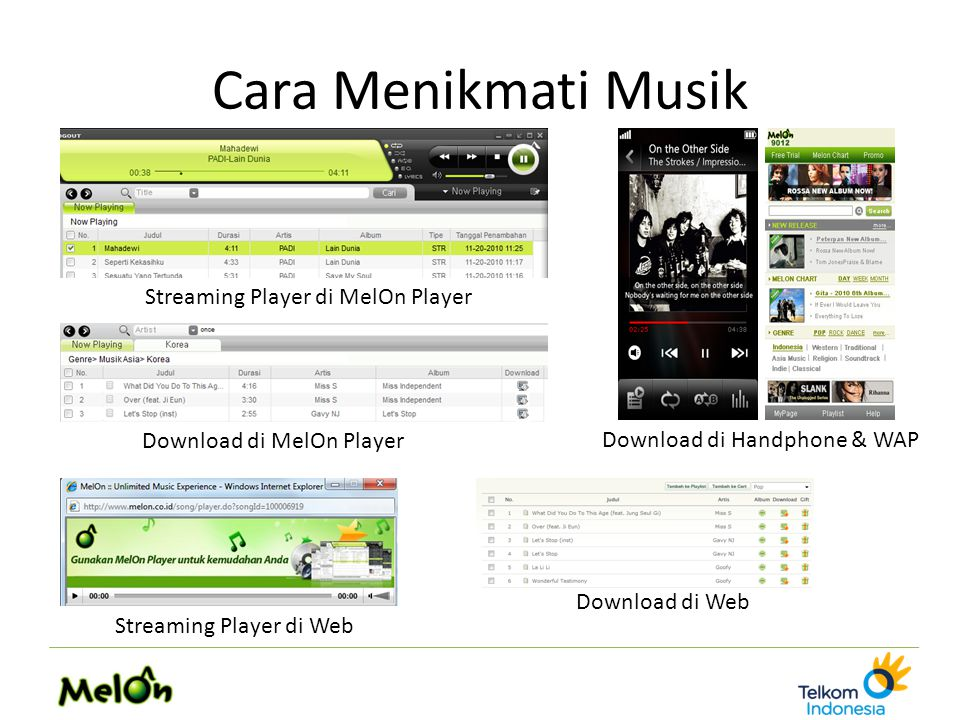 Cara Menikmati Musik Streaming Player di Web Streaming Player di MelOn Player Download di MelOn Player Download di Web Download di Handphone & WAP