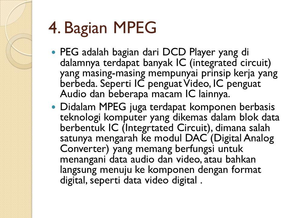 4 4. Bagian MPEG PEG adalah bagian dari DCD Player yang di dalamnya terdapat banyak IC (integrated circuit) yang masing-masing mempunyai prinsip kerja
