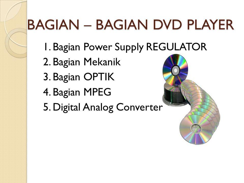 BAGIAN – BAGIAN DVD PLAYER 1. Bagian Power Supply REGULATOR 2. Bagian Mekanik 3. Bagian OPTIK 4. Bagian MPEG 5. Digital Analog Converter