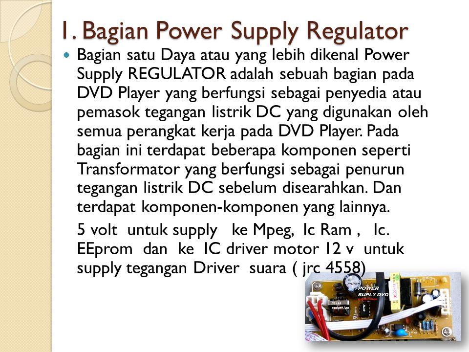 1. Bagian Power Supply Regulator Bagian satu Daya atau yang lebih dikenal Power Supply REGULATOR adalah sebuah bagian pada DVD Player yang berfungsi s