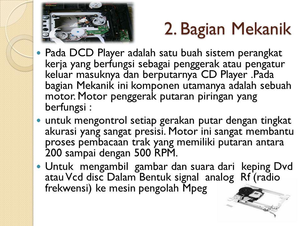 2. Bagian Mekanik Pada DCD Player adalah satu buah sistem perangkat kerja yang berfungsi sebagai penggerak atau pengatur keluar masuknya dan berputarn