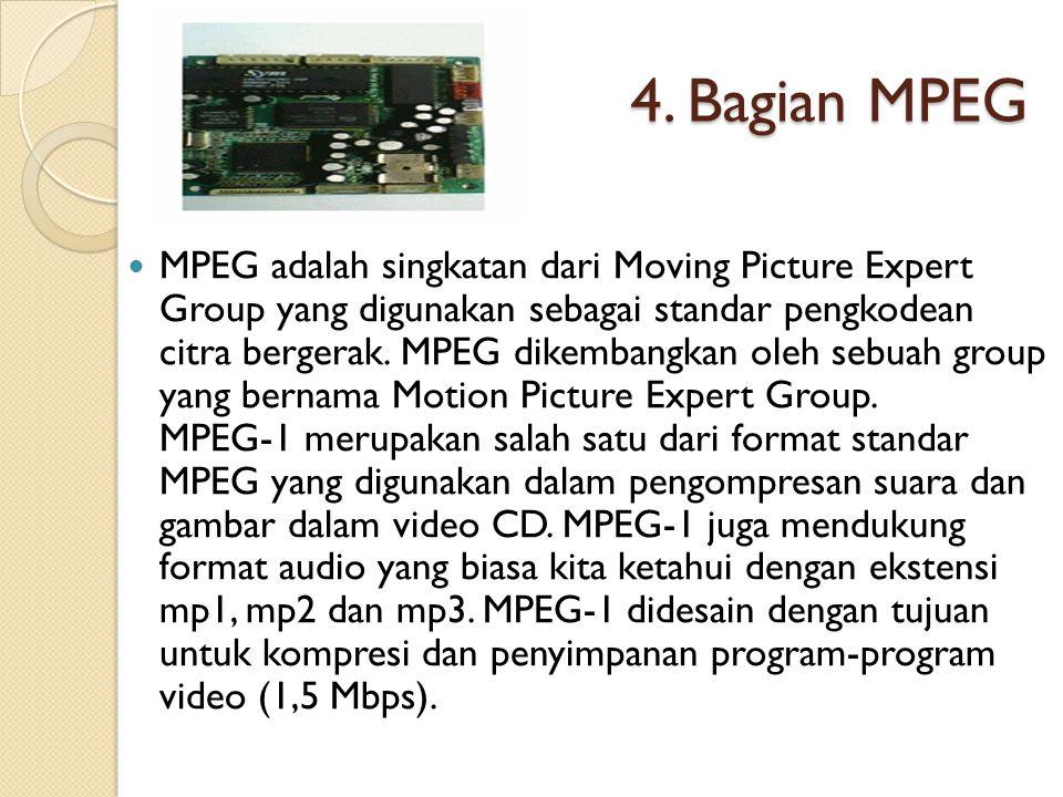 4. Bagian MPEG MPEG adalah singkatan dari Moving Picture Expert Group yang digunakan sebagai standar pengkodean citra bergerak. MPEG dikembangkan oleh