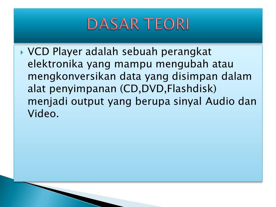  VCD Player adalah sebuah perangkat elektronika yang mampu mengubah atau mengkonversikan data yang disimpan dalam alat penyimpanan (CD,DVD,Flashdisk) menjadi output yang berupa sinyal Audio dan Video.
