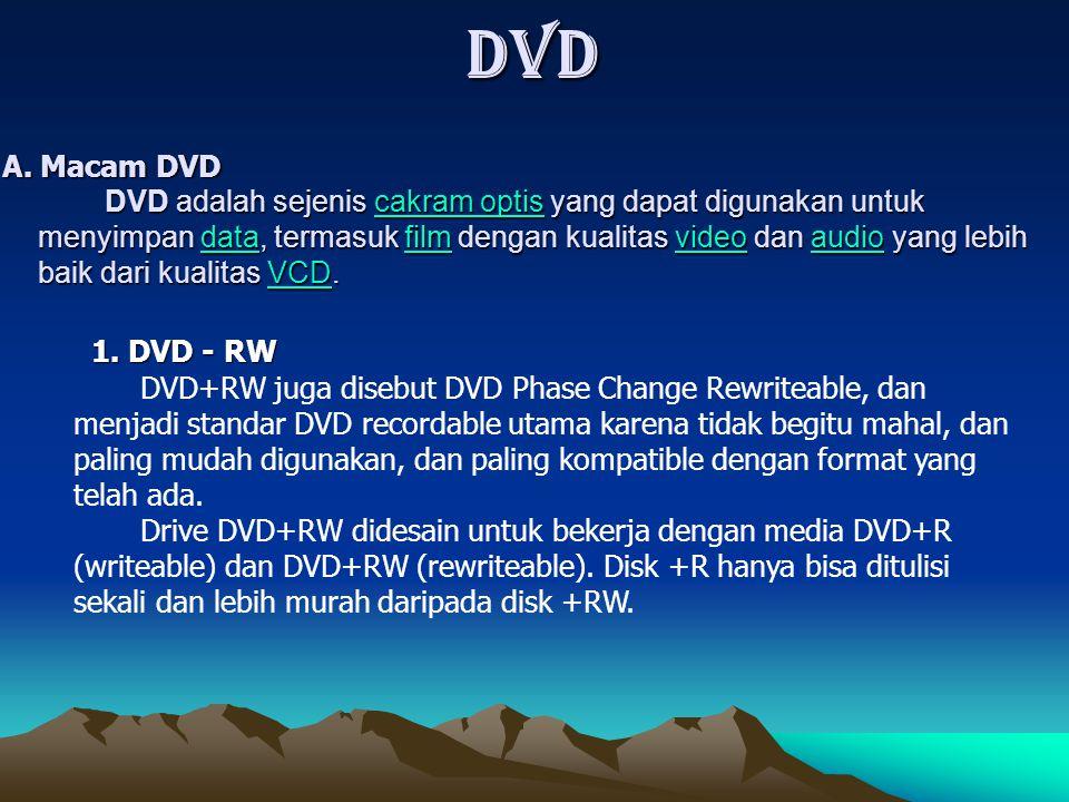 DVD adalah sejenis c c c c c aaaa kkkk rrrr aaaa mmmm o o o o pppp tttt iiii ssss yang dapat digunakan untuk menyimpan d d d d d aaaa tttt aaaa, termasuk f f f f f iiii llll mmmm dengan kualitas v v v v v iiii dddd eeee oooo dan a a a a a uuuu dddd iiii oooo yang lebih baik dari kualitas V V V V V CCCC DDDD.