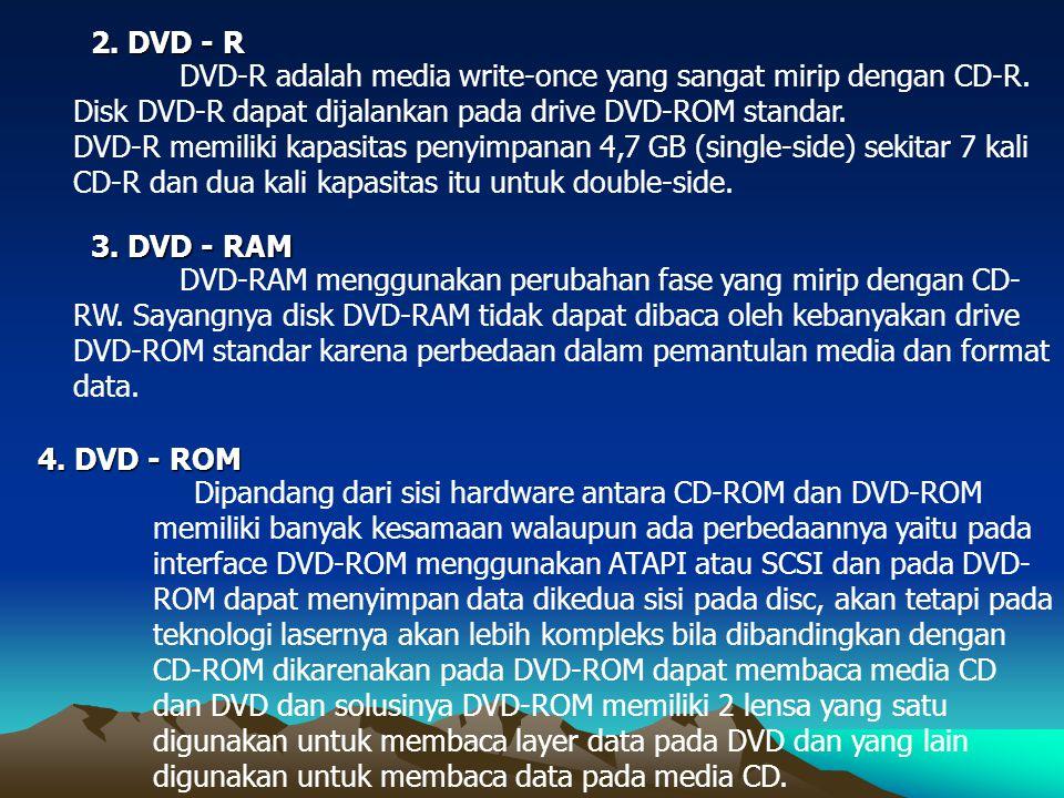 DVD-R adalah media write-once yang sangat mirip dengan CD-R. Disk DVD-R dapat dijalankan pada drive DVD-ROM standar. DVD-R memiliki kapasitas penyimpa
