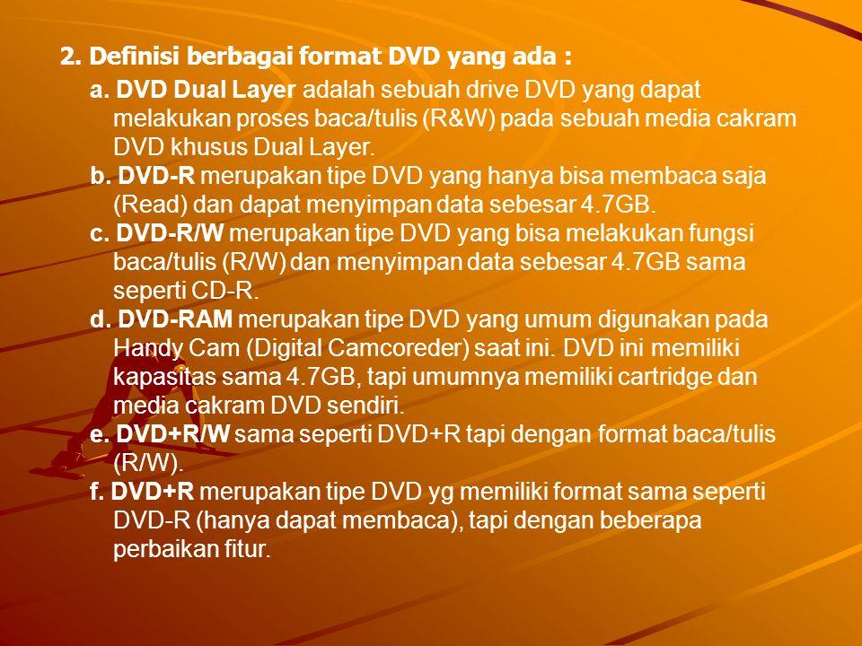 a. DVD Dual Layer adalah sebuah drive DVD yang dapat melakukan proses baca/tulis (R&W) pada sebuah media cakram DVD khusus Dual Layer. b. DVD-R merupa
