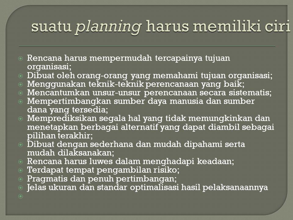 Rencana harus mempermudah tercapainya tujuan organisasi;  Dibuat oleh orang-orang yang memahami tujuan organisasi;  Menggunakan teknik-teknik pere