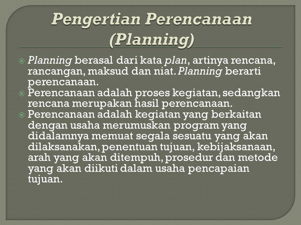  Planning berasal dari kata plan, artinya rencana, rancangan, maksud dan niat. Planning berarti perencanaan.  Perencanaan adalah proses kegiatan, se