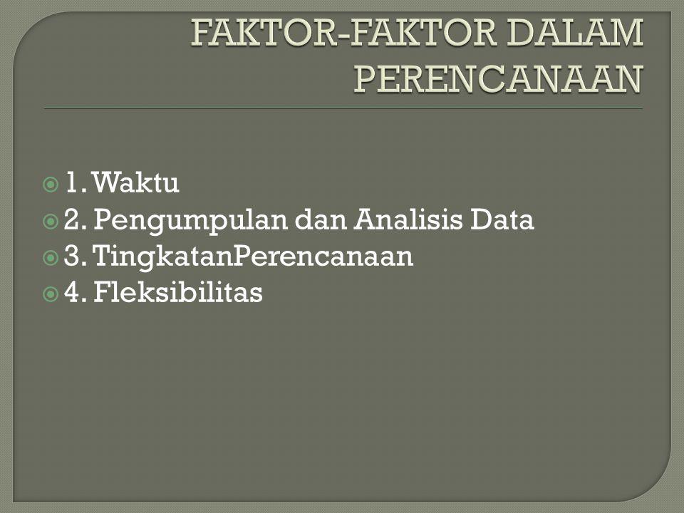  1. Waktu  2. Pengumpulan dan Analisis Data  3. TingkatanPerencanaan  4. Fleksibilitas