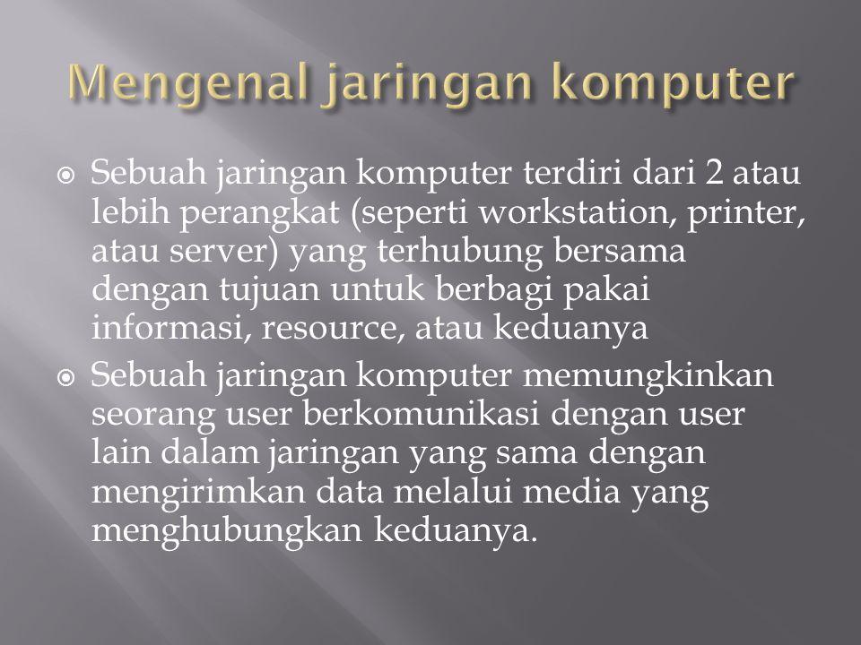 1. Memahami Pengertian LAN 2. Memahami Pengertian WAN 3. Memahami Pengertian Internet 4. Memahami Perangkat Jaringan
