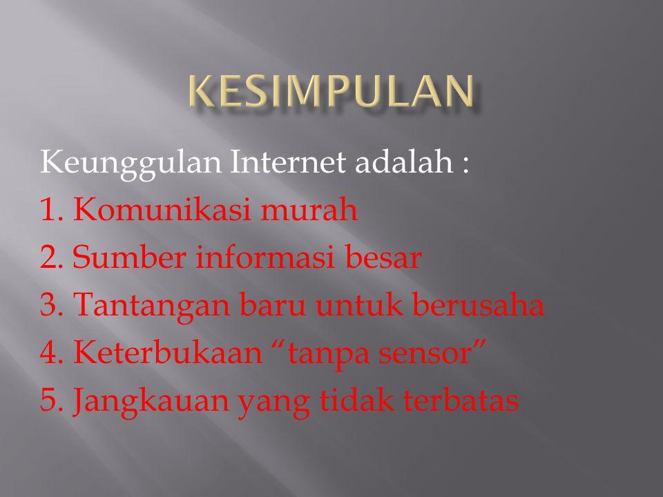 Kepanjangan Internet adalah : Interconnected Networking Pengertian Internet : Rangkaian komputer yang terhubung di dalam beberapa rangkaian secara glo