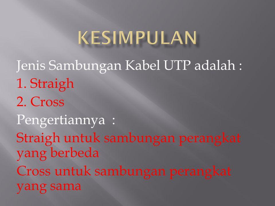 Standar Warna Kabel UTP terdiri dari : 1. Orange. 2. Putih Orange 3. Hijau 4. Putih Hijau 5. Biru 6. Putih Biru 7. Coklat 8. Putih Coklat