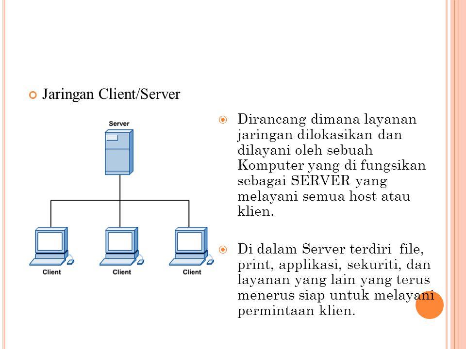 TIPE JARINGAN PEER TO PEER Kedudukan masing- masing komputer dalam jaringan adalah sama. Setiap komputer dapat berlaku sebagai Klien atau Server.