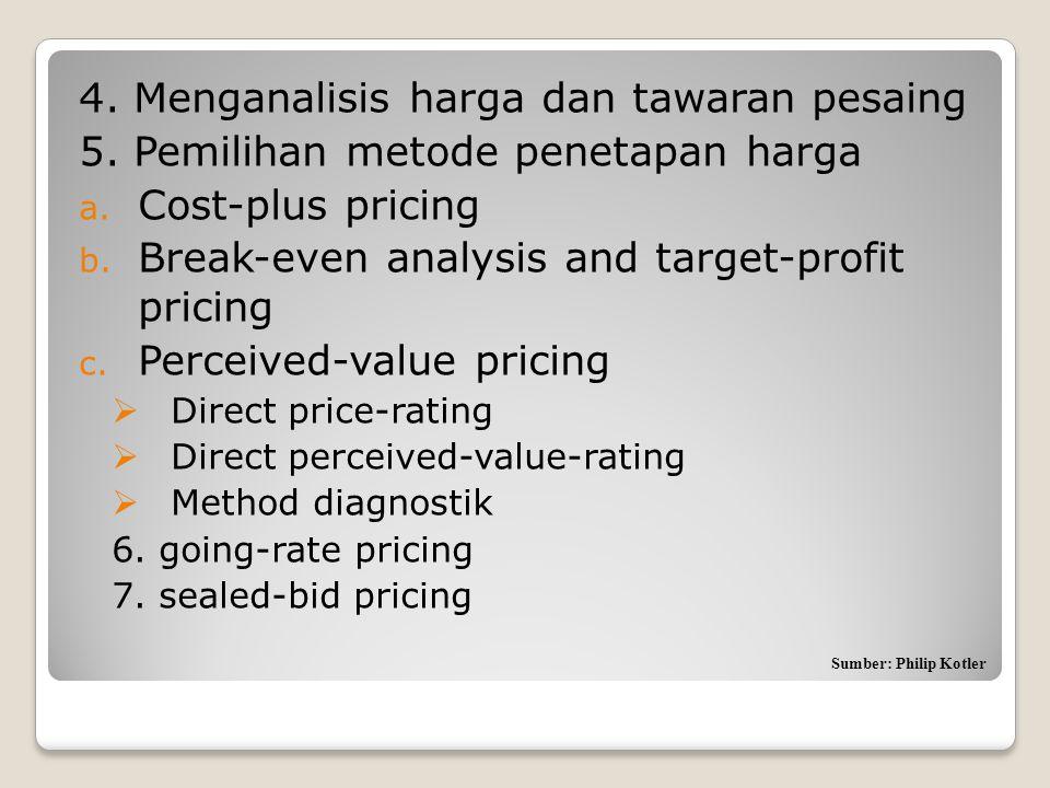 4. Menganalisis harga dan tawaran pesaing 5. Pemilihan metode penetapan harga a. Cost-plus pricing b. Break-even analysis and target-profit pricing c.