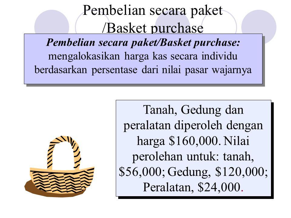 Pembelian secara paket /Basket purchase Pembelian secara paket/Basket purchase: mengalokasikan harga kas secara individu berdasarkan persentase dari nilai pasar wajarnya Tanah, Gedung dan peralatan diperoleh dengan harga $160,000.