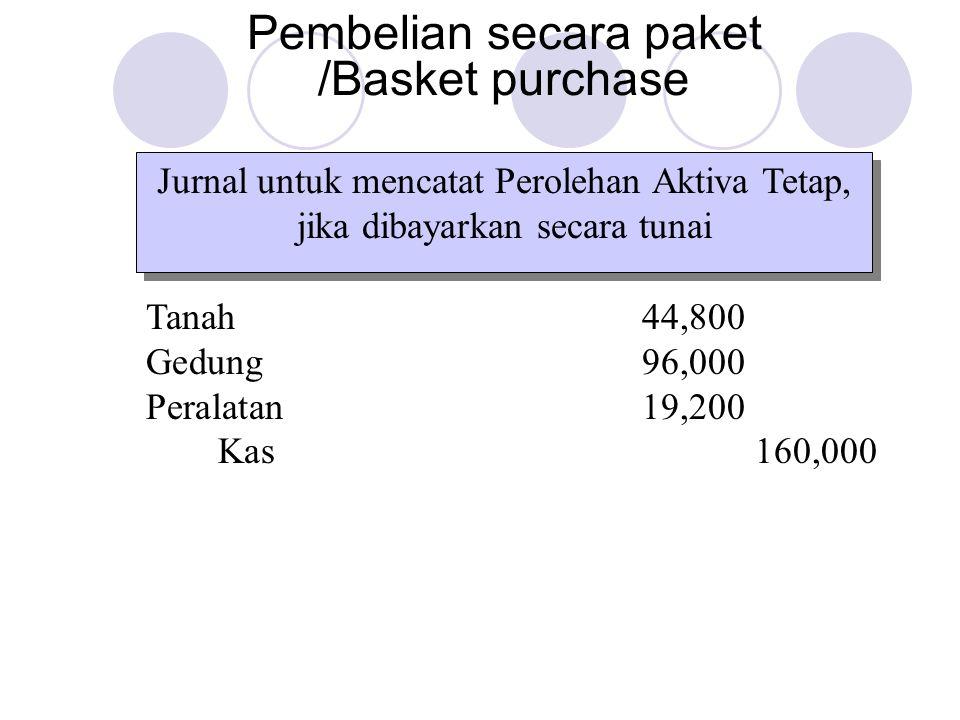 Jurnal untuk mencatat Perolehan Aktiva Tetap, jika dibayarkan secara tunai Pembelian secara paket /Basket purchase Tanah44,800 Gedung96,000 Peralatan19,200 Kas160,000