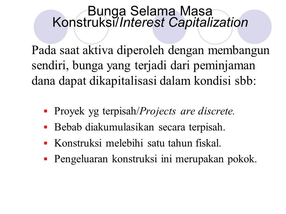Bunga Selama Masa Konstruksi/Interest Capitalization  Proyek yg terpisah/Projects are discrete.  Bebab diakumulasikan secara terpisah.  Konstruksi