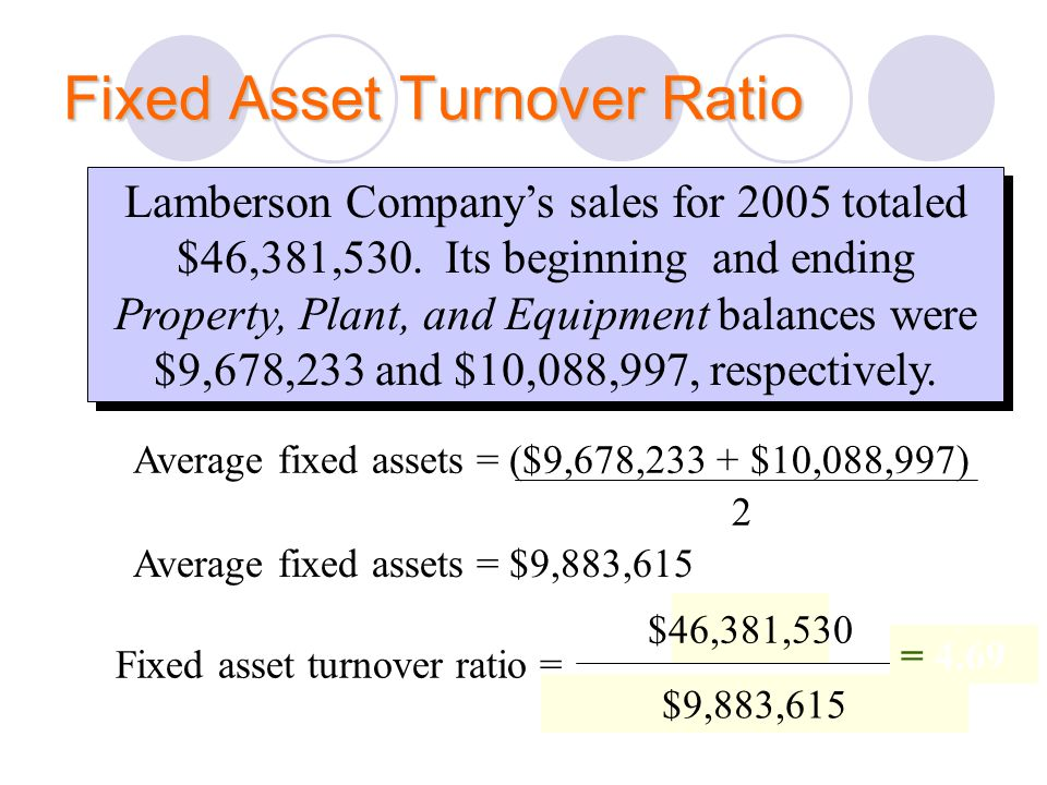 Sales Average Fixed Assets Fixed asset turnover ratio = Fixed Asset Turnover Ratio Lamberson Company's sales for 2005 totaled $46,381,530. Its beginni