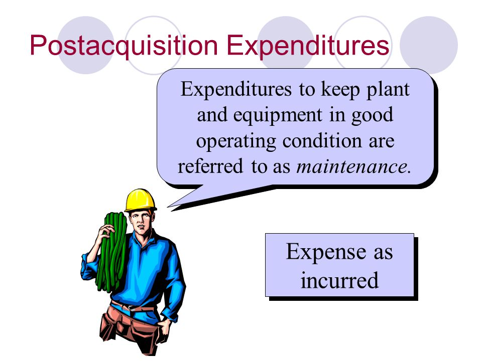 Postacquisition Expenditures Expenditures to keep plant and equipment in good operating condition are referred to as maintenance. Expense as incurred