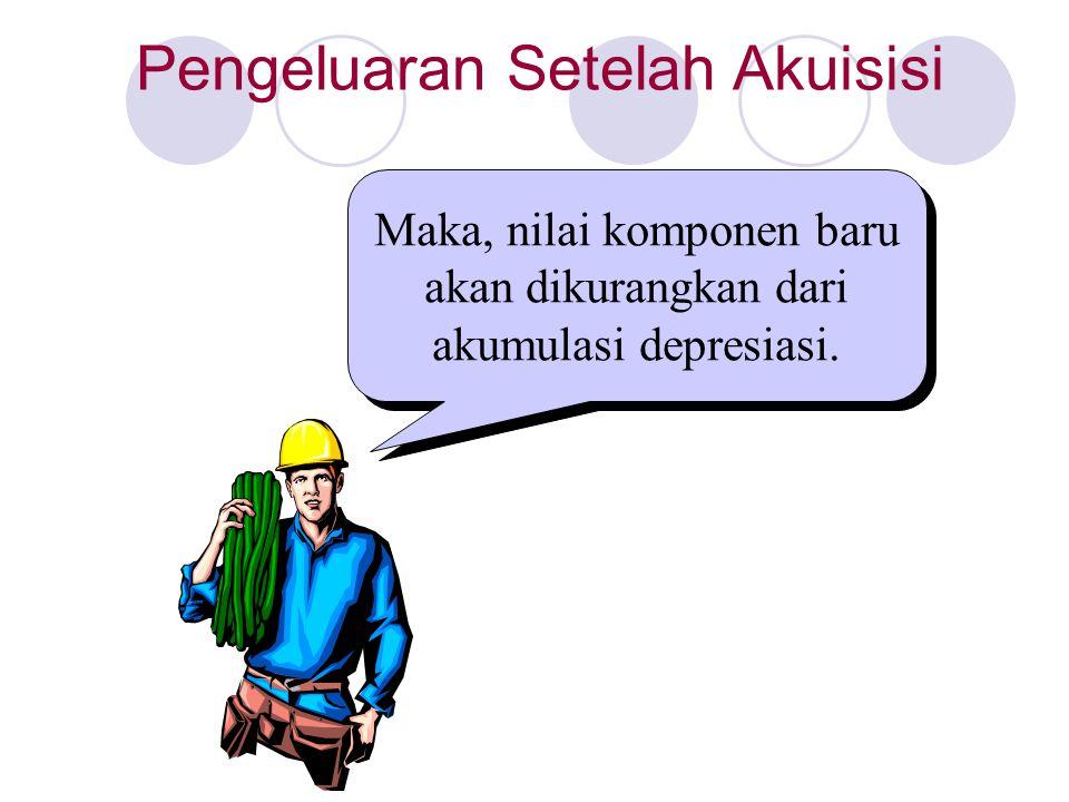 Maka, nilai komponen baru akan dikurangkan dari akumulasi depresiasi. Pengeluaran Setelah Akuisisi