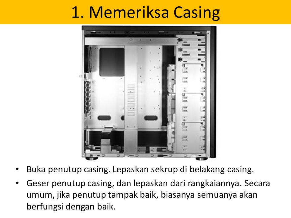 1. Memeriksa Casing Buka penutup casing. Lepaskan sekrup di belakang casing. Geser penutup casing, dan lepaskan dari rangkaiannya. Secara umum, jika p
